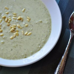 Creamy Broccoli With Mustard Soup Recipe - Toasted pine nuts are the perfect garnish for this traditional broccoli cream soup.
