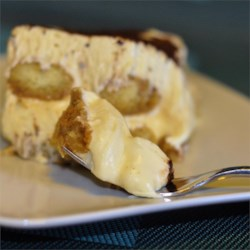 Tiramisu I Recipe - Coffee soaked ladyfingers layered with a custard of sweetened mascarpone cheese with a hint of brandy.