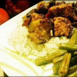 Pork Delight Recipe - Savory tender pork chunks, diced apples, diced green onion, with tomato sauce. Serve with green beans in Italian dressing and white rice.