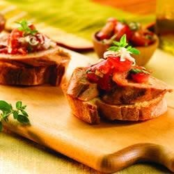 Roasted Pepper and Asiago Chicken Sausage Fresh Tomato Bruschetta