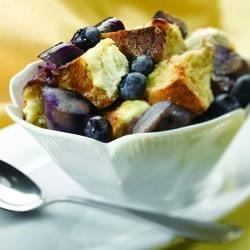 Wild Blueberry Breakfast Pudding Recipe - Whole-grain bread pudding with blueberries, maple syrup, cinnamon, and sausage is sure to be a new weekend family favorite.