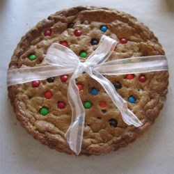 Giant Chocolate Chip Cookie Recipe - A giant chocolate chip cookie, baked in a pizza pan.