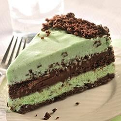 Dark Chocolate and Mint Ice Cream Torte Recipe - Layers of chocolate and mint work their tasty magic in this delicious frozen dessert.