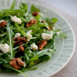 Hazelnut Blue Pecan Salad Recipe - Gorgonzola cheese and pecans top a mix of salad greens or arugula with a drizzle of hazelnut oil.