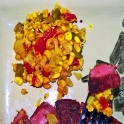 Corn Relish III Recipe - Corn relish is not difficult to make, and is always a colorful end of summer treat.