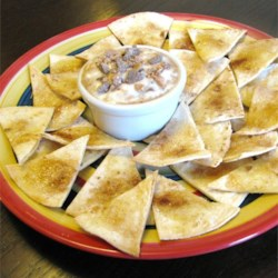 Tortilla Crisps with Brickle Dip Recipe - Cinnamon and sugar tortilla chips are served alongside a toffee brickle dip for a sweet, Mexican-inspired snack.