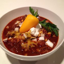 Spartan Tri Tip Chili Recipe - Big bold flavors stand out in this Texas-style (no-bean) chili made with tender beef tri tip, a bottle of dark beer, a couple of shots of tequila, and all the seasonings you want in your chili, plus a few more.