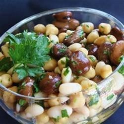 Lebanese Bean Salad Recipe - This Lebanese-inspired three bean salad combines fava beans, chickpeas, and white beans with lemon juice and parsley for a refreshing side dish perfect for lunch or picnics.