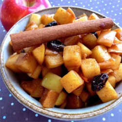 Bourbon Fried Apples  Recipe - A little bit of whiskey, some lemon juice, and cinnamon bring up the flavor in a side dish of cooked apples that's not too sweet to put next to breakfast breads or a pork chop.