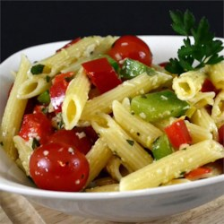 Italian Pasta Salad II Recipe - Peppers, cherry tomatoes and fresh basil and parsley make this salad a summer time favorite. This is truly a must have pasta salad especially if you are Italian. I can't keep this in the house, it goes as fast as I make it. Enjoy!