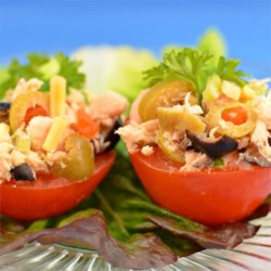 Mayonnaise-Free Tuna Salad Recipe - This tuna salad is packed with cheese and olives and is dressed in a mixture of citrus juice and olive oil, rather than mayonnaise, for a perfect summer salad.