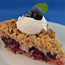 Creamy Apple Blueberry Pie Recipe - Sweet and tender apples and blueberries fill this luscious, cream pie with a crisp crumb topping.