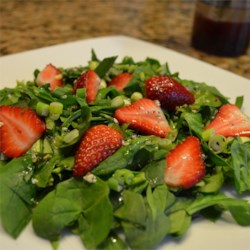 Sesame Strawberry Spinach Salad Recipe - Strawberries and spinach join a pungent dressing in this unusual salad combo. Sesame oil and balsamic vinegar give this version of poppy seed dressing a bit more robust taste.