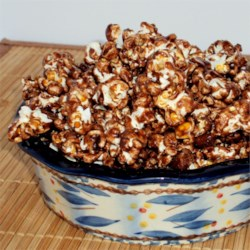 Chocolate Almond Popcorn Recipe - Sweet and salty chocolate-flavored popcorn, baked until dry and crunchy with roasted almonds, makes a great snack and a fun gift.