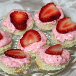 Creamy Strawberry Sandwiches Recipe - Cream cheese and strawberries make a deliciously pink sandwich spread perfect for bridal showers.