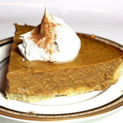 Sugarless Pumpkin Pie Recipe - A yummy pumpkin pie with NO sugar added. If eggs are not part of your diet, substituted 1/2 cup egg substitute for  2 eggs. Originally submitted to ThanksgivingRecipe.com.