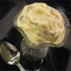Pecan Caramel Ice Cream Recipe - Use sweetened condensed milk, caramel topping, instant pudding mix, and plenty of pecans to make an easy ice cream with the flavor of pralines and cream.