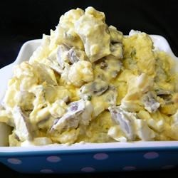 Eureka Potato Salad Recipe - This is a potato salad that has a mashed potato kind of texture. I was experimenting for the 4th of July and my family and friends loved it.
