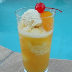 Peach Cooler Recipe - Cool and refreshing carbonated peach smoothie topped with ice cream.