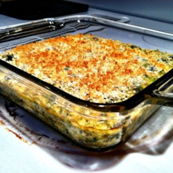 Creamy Broccoli and Cheese Casserole Recipe - Kids will eat their broccoli when it comes in the form of a creamy, cheesy casserole topped with buttered crumbs.