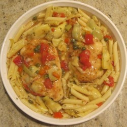 Chicken Cutlet with Artichoke Hearts, Capers, Garlic Sauce