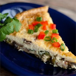 Asparagus Mushroom Bacon Crustless Quiche Recipe - Crustless quiche is a quick and easy brunch dish loaded with so much flavor from bacon, Swiss cheese, and asparagus that you won't even miss the crust.