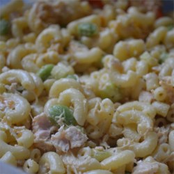 Kara's Summer Salad Recipe - Edamame and sunflower seed kernels give a different spin on the macaroni salad tradition.