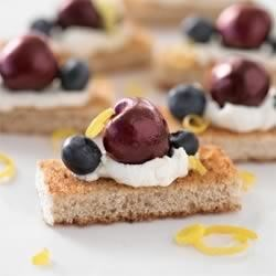 Cherry and Blueberry Whole Grain Cheesecake Bites Recipe - Be prepared to share when you bring these mouthwatering bites to any summer gathering!