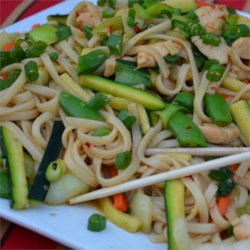 Chow Mein with Chicken and Vegetables Recipe - This stir-fry combines chicken breast, bok choy, zucchini, carrots, snap peas, and chow mein noodles in a flavorful Chinese-inspired sauce.