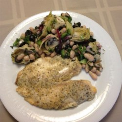 Broiled Tilapia Parmesan w/ side of White bean and Articoke Salad