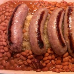 Bratwurst, Sauerkraut and Bean Casserole