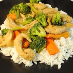 Chicken Stir-Fry Recipe - This chicken stir-fry is a little spicy and a little sweet. Fresh ginger and garlic add a little kick, which is balanced with brown sugar. Though the recipe calls for bell peppers, water chestnuts, and broccoli, try it with any vegetable you like!