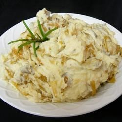 Caramelized Onion and Horseradish Smashed Potatoes