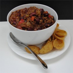JRay's Chili Recipe - This recipe makes a spicy beef chili accented with bacon in just over 1 hour.