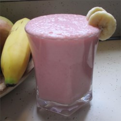 Strawberry-Banana Smoothie Recipe - This flavorful strawberry and banana fusion is sweetened with honey and offers wheat germ as an optional ingredient.
