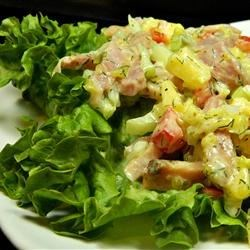 Ham Salad for Two Recipe - This delicious blend of ham strips and fresh crunchy celery sweetened with sweet pickle is suitable enough for a meal in itself or with other salads.
