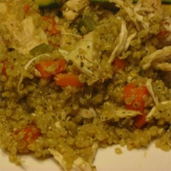 Quinoa Pilaf with Shredded Chicken Recipe - Coconut oil, sage, and shredded chicken make this pilaf an easy main dish.