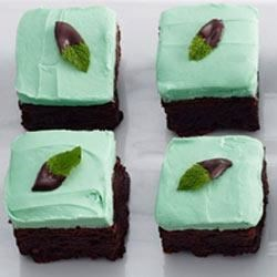 Mint Chocolate Brownie Bars Recipe - Brownies and cookies come together in one delicious dessert bar--topped with chocolatey mint frosting.