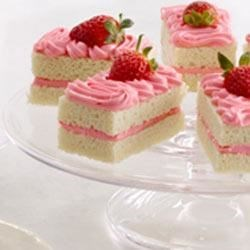 Strawberry Champagne Cakes Recipe - Cheers to these French Vanilla champagne cakes, iced with strawberry shortcake frosting!