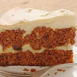 Carrot Cake Cheesecake from Duncan Hines(R) Recipe - A scrumptious Carrot Cake Cheesecake with the added sweetness of pineapple frosting.
