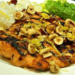 Grilled Salmon with Lemon Hazelnut Sauce Recipe - The perfect make-ahead BBQ party dish with the richness of hazelnuts and zing of lemon.  Simple, elegant, fast and delicious, it's a hit at every gathering!