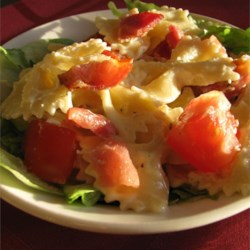 BLT Bow Tie Salad Recipe - Bacon, lettuce, tomato, and a mayonnaise-based dressing are stirred into bow-tie pasta for a new spin on the traditional BLT.