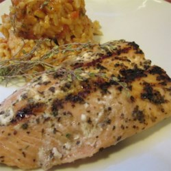 Sugar Glazed Salmon Recipe - Salmon marinated in red wine vinegar, garlic and basil, then coated with sugar and barbecued.