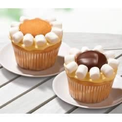 Lemon Daisy Cupcakes Recipe - Fill and frost white cupcakes with a creamy, lemony mixture, then decorate with wafer cookies and mini marshmallows to make these pretty, springtime daisy cupcakes.