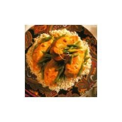 Oriental Chicken Skillet Recipe - Golden chicken breasts join green beans and a creamy sauce made with Campbell's(R) Condensed Cream of Chicken Soup seasoned with ginger and soy, and served over rice.