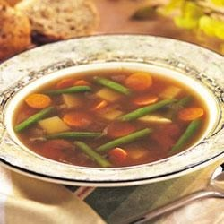 Easy Vegetable Soup Recipe - Reach for Swanson(R) Beef Broth to make this comforting and delicious soup packed with carrots, green beans, and potatoes, and seasoned with onion, garlic and thyme.