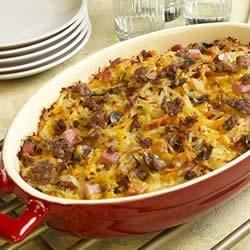 Easy Breakfast Bake Recipe - This cheesy casserole featuring Bob Evans(R) Zesty Hot Roll Sausage can be made the night before, so it's ready to pop into the oven for breakfast.