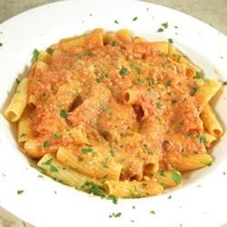 Easy Vodka Sauce Recipe and Video - Simple and flavorful--crushed tomatoes, onion, vodka and cream.