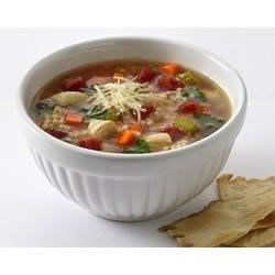 Chiarello's Chicken and Pastina Soup Recipe - This fresh, bright soup with chicken, tomatoes and pasta is loaded with vegetables for a light but satisfying dinner or first course.
