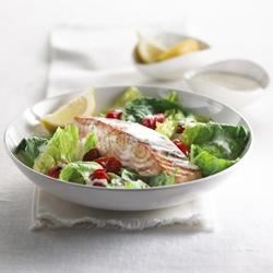 Warm Salmon and Grape Tomato Salad